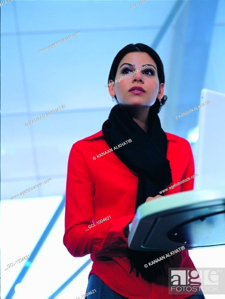 Stock Photo: businesswoman working on computer.
