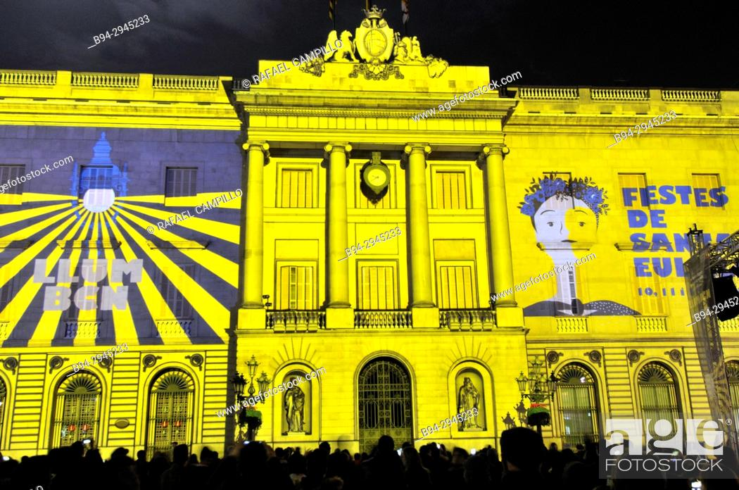 Stock Photo: Mapping on the Town hall building. Celebration of saint Eulalia martyr, February 12. 290-303 AD. Canonized 633 AD. Copatron of Barcelona. Raval area.