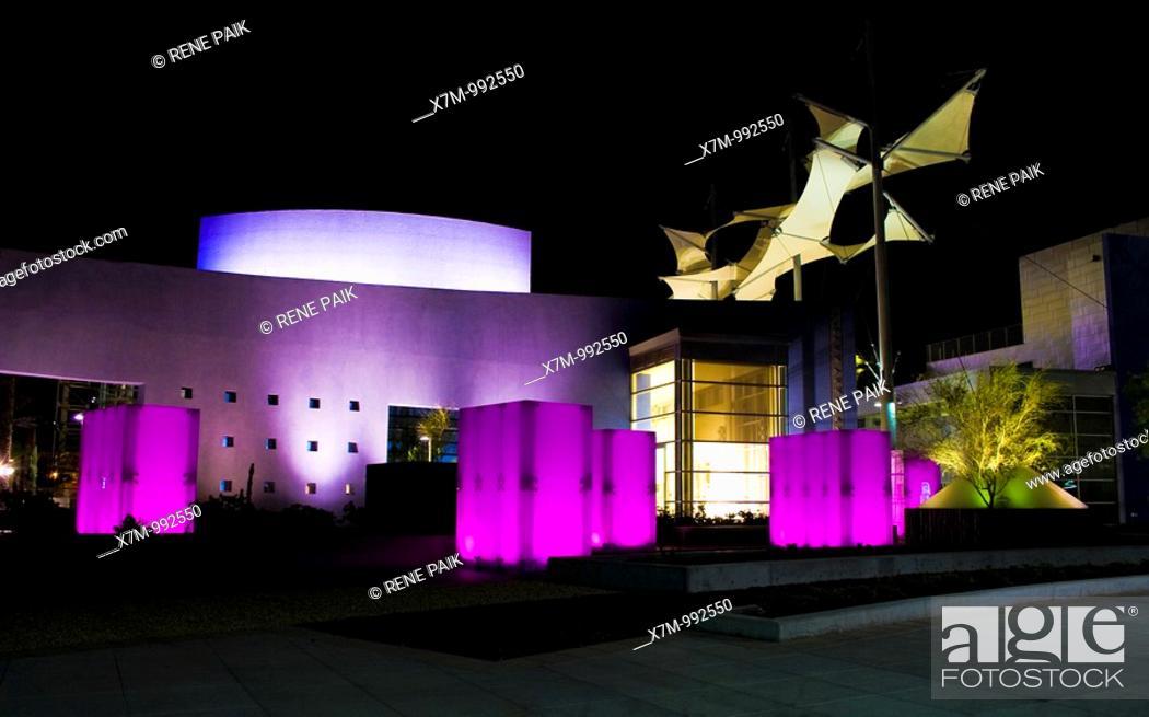 Stock Photo: Glass pergolas and giant canopies at Mesa Arts Center, Arizona, United States of America at night  The glass pergolas shift colors.