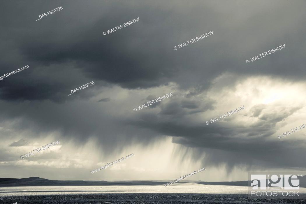 Stock Photo: USA, Nevada, Great Basin, Beatty, desert storm off Rt  95.