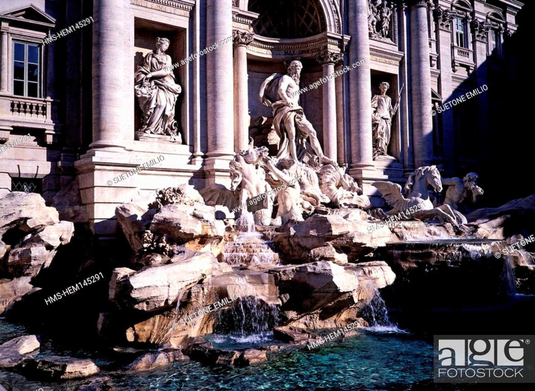 Stock Photo: Italy, Lazio, Rome, listed as World Heritage by UNESCO, Quirinale District, Trevi Fountain.