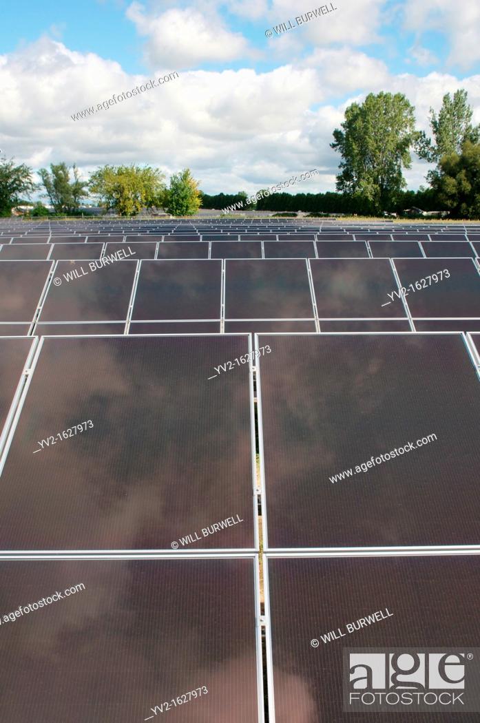 Stock Photo: Detail of solar panels.