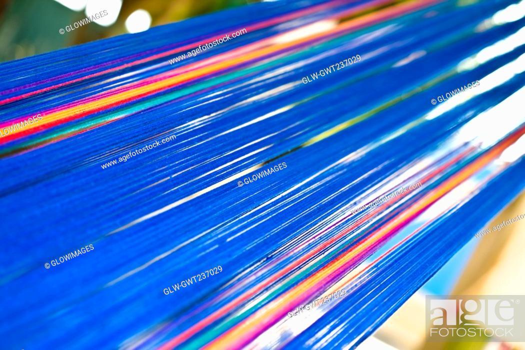 Stock Photo: Close-up of a multi-colored textile, Santo Tomas Jalieza, Oaxaca State, Mexico.