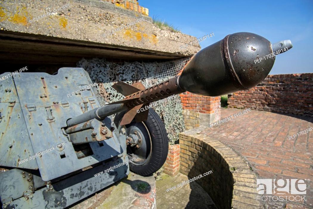 Stock Photo: Pak 36 / Panzerabwehrkanone 36 with Stielgranate 41, German anti-tank gun at Raversyde Atlantikwall / Atlantic Wall museum at Raversijde, Belgium.