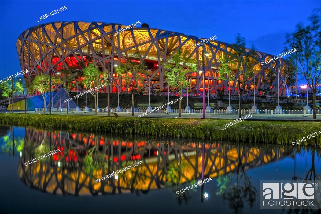 """Stock Photo: The National Stadium (""""""""The Bird's Nest""""""""). Beijing. China."""