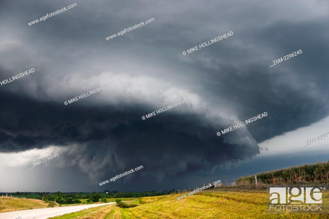 Stock Photo: Supercell moves across southwest Iowa August 26, 2004, producing short-lived tornadoes near the town of Coin.