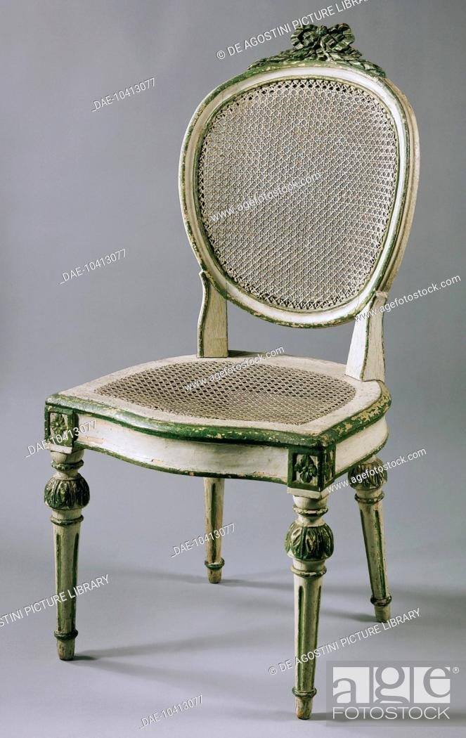 Enjoyable Painted Wooden Chair With Wicker Back And Seat Germany Home Interior And Landscaping Oversignezvosmurscom