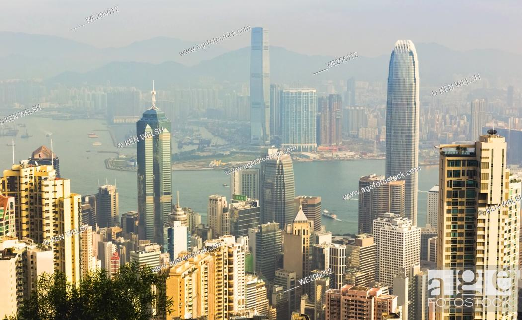Stock Photo: Hong Kong, China. Overall view of Hong Kong, Victoria Harbour and Kowloon from Victoria Peak.