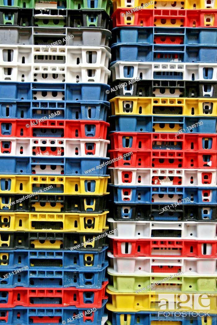 Stock Photo: plastic boxes stacked, La Boqueria market, Barcelona, Catalonia, Spain.