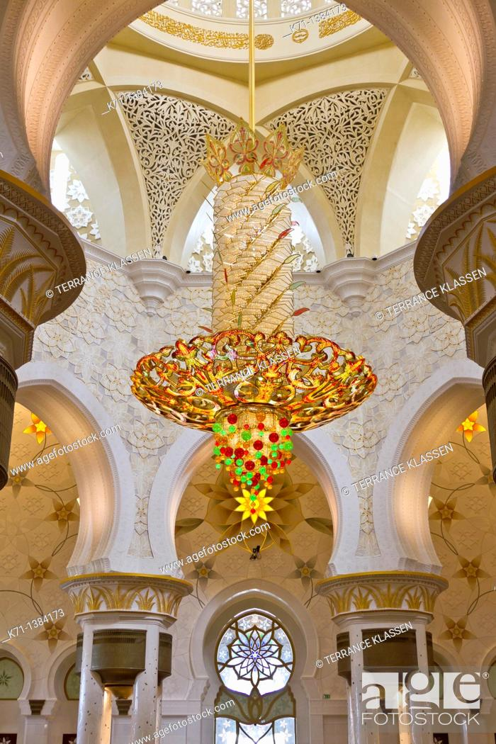 Stock Photo: Interior architecture with chandelier in the Sheikh Zayed Grand Mosque in Abu Dhabi, UAE.
