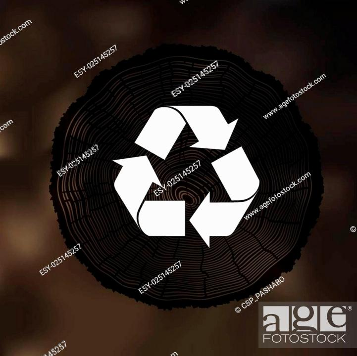 Stock Vector: Tree Rings background with Reuse Symbol. Template for annual rep.