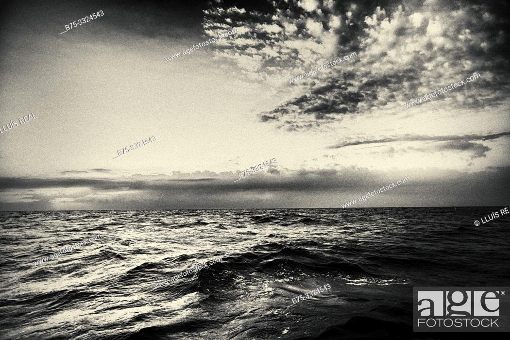 Stock Photo: Sea view at dawn from a boat. Mediterranean Sea, Europe.