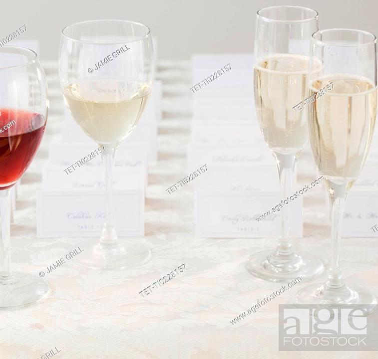 Stock Photo: Wedding table place cards.