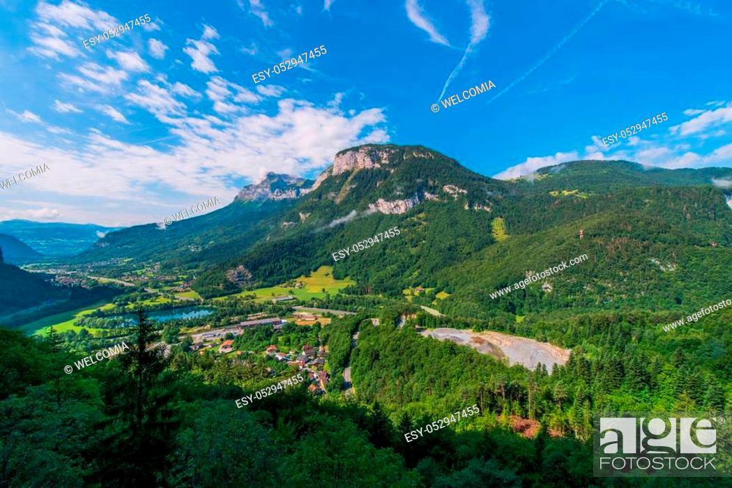 Stock Photo: Auvergne Rhone Alpes Region. Magland Commune in Haute-Savoie department. Summer Landscape.