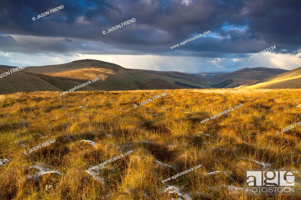 Stock Photo: England, Northumberland, Northumberland National Park  Last light near Auchope Rig, looking towards the Scottish Uplands.