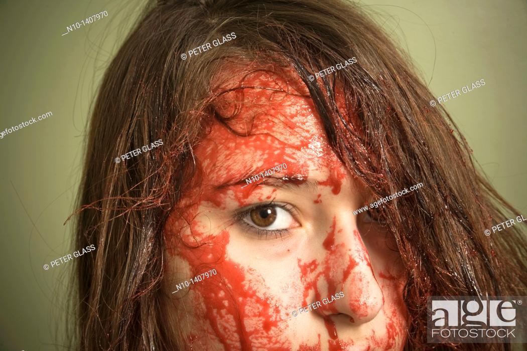 Stock Photo: Bloody teen girl.
