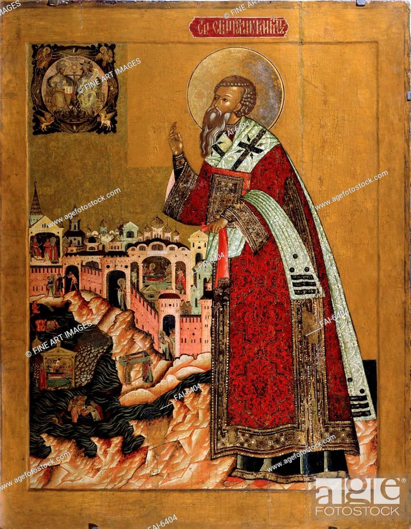 Pope Clement With Scenes From His Life Russian Icon Tempera On