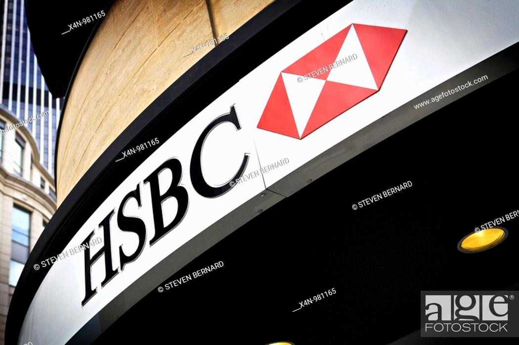 HSBC bank branch in City of London, UK, Stock Photo, Picture And