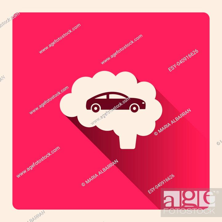 Stock Vector: Brain thinking in car illustration on red square background with shade.
