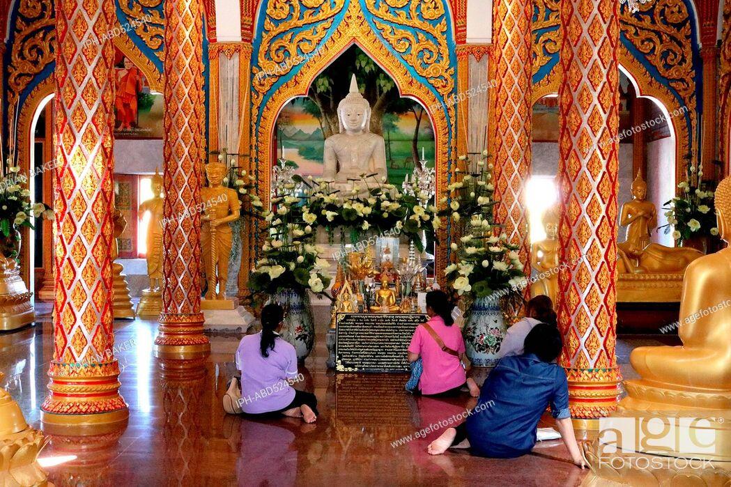 Imagen: Thailand Phuket Ornate interior of Wat Chalong.