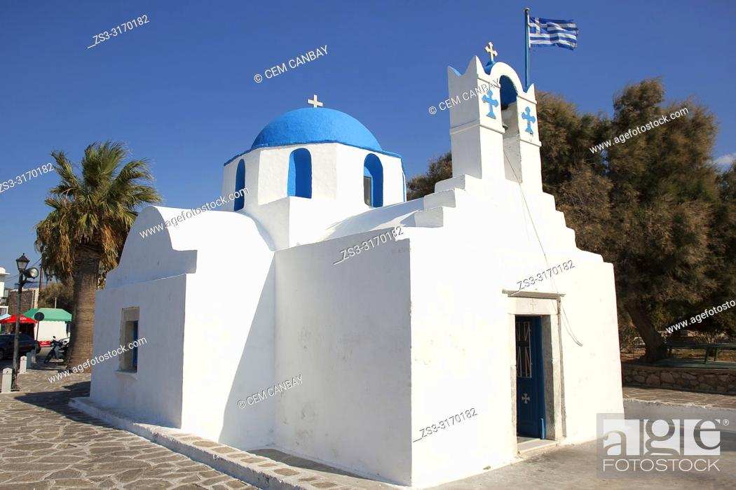 Stock Photo: Small blue domed Church Of Saint Nicolas Thalassitis near the port in Parikia town, Paros Island, Cyclades Islands, Greek Islands, Greece, Europe.