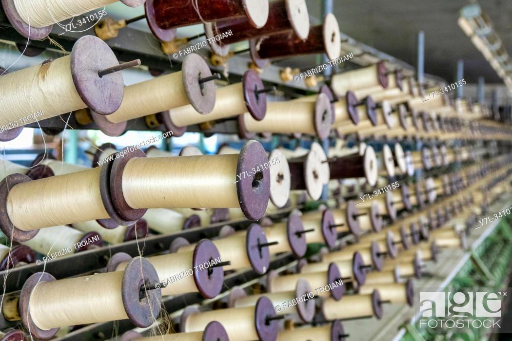 Stock Photo: Old abandoned soviet silk weaving factory in Basqal, Azerbaijan.