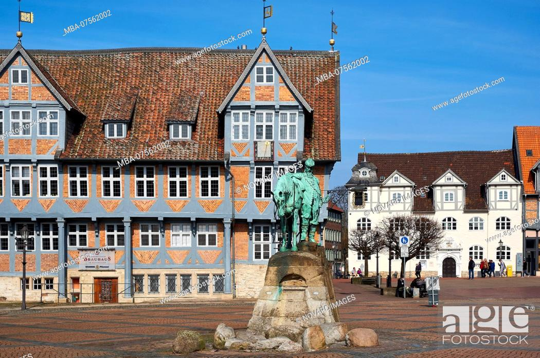 Stock Photo: Equestrian monument of Duke August on the city market with town hall in Wolfenbttel, Niedsachsen, Germany.