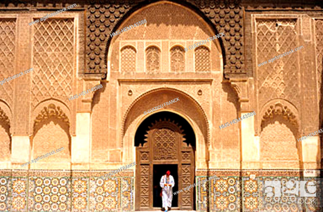 Stock Photo: Morocco, Marrakesh, the medersa Ben Youssef (Koranic school).