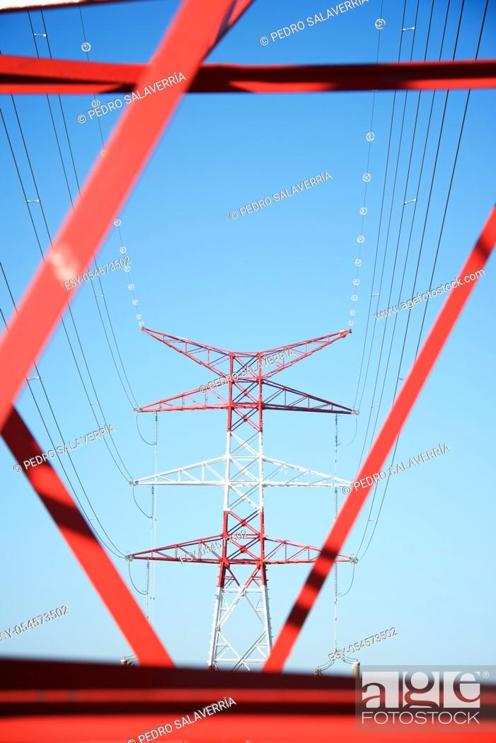 Stock Photo: Power line and clear sky in Zaragoza province, Aragon in Spain.