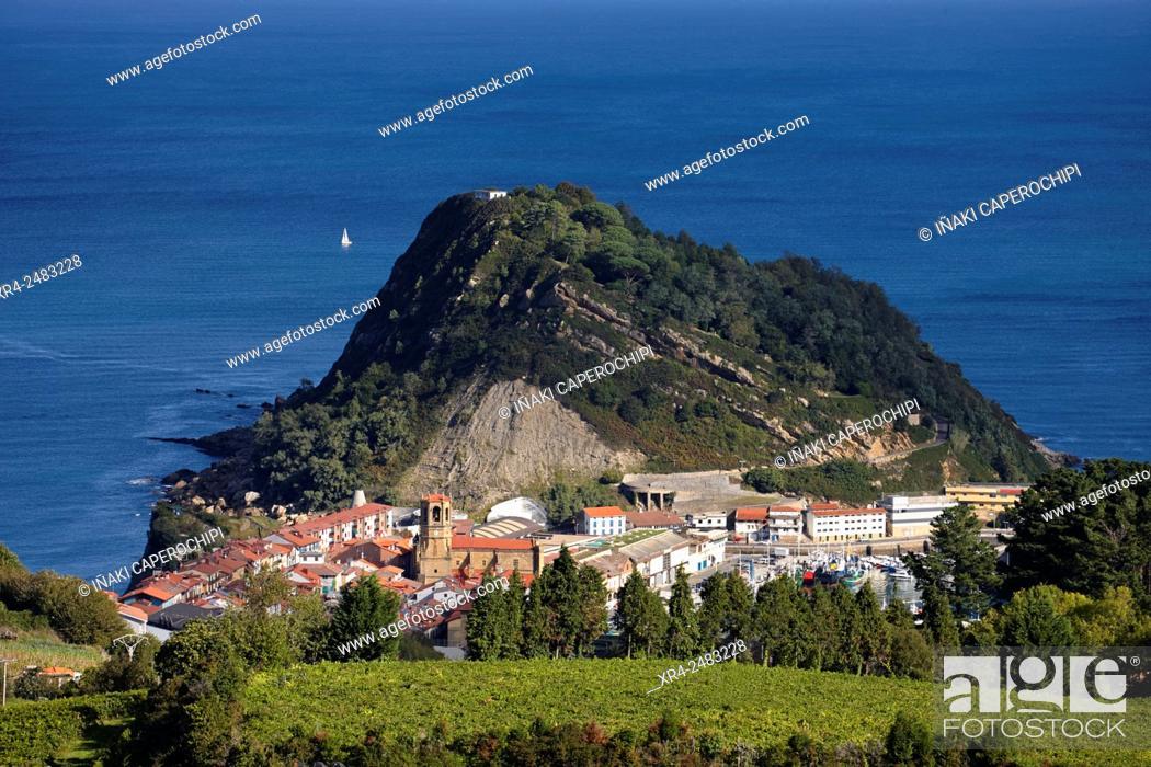 Stock Photo: Spain, Guipuzcoa, Getaria, Landscape with Txakoli vineyards.