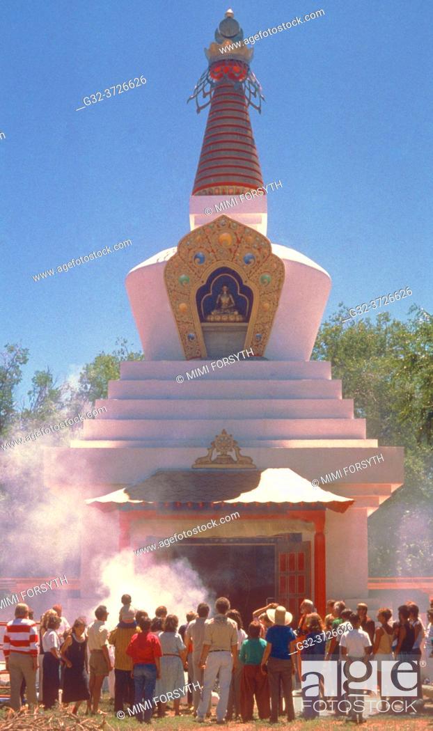 Stock Photo: fire puja, Tibetan stupa, Santa Fe, New Mexico.