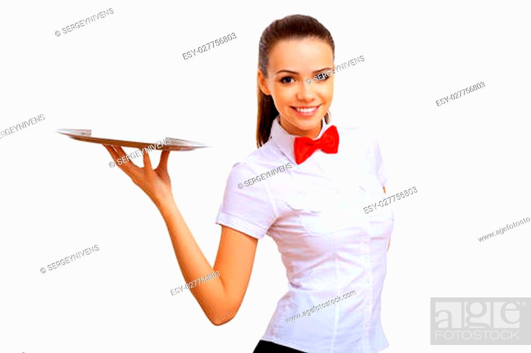 Photo de stock: Portrait of young waitress with an empty tray.