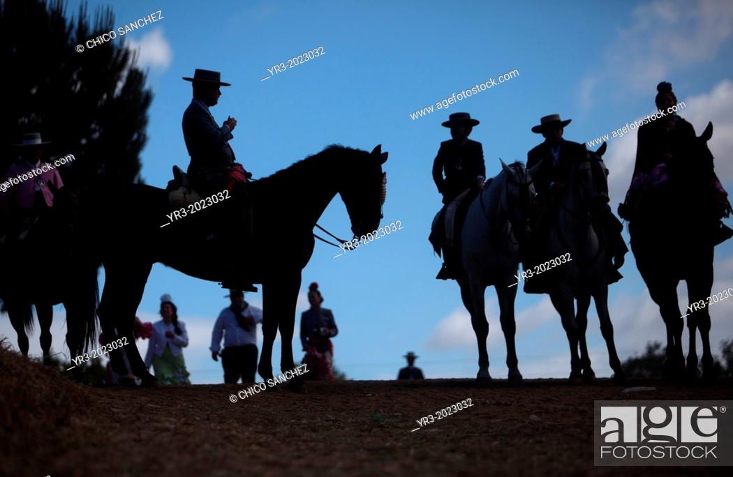Stock Photo: Riders wait to cross in the Guadiamar's river ford, known as Vado del Quema, during the pilgrimage to the shrine of the Virgin of Rocio, in Aznalcazar.