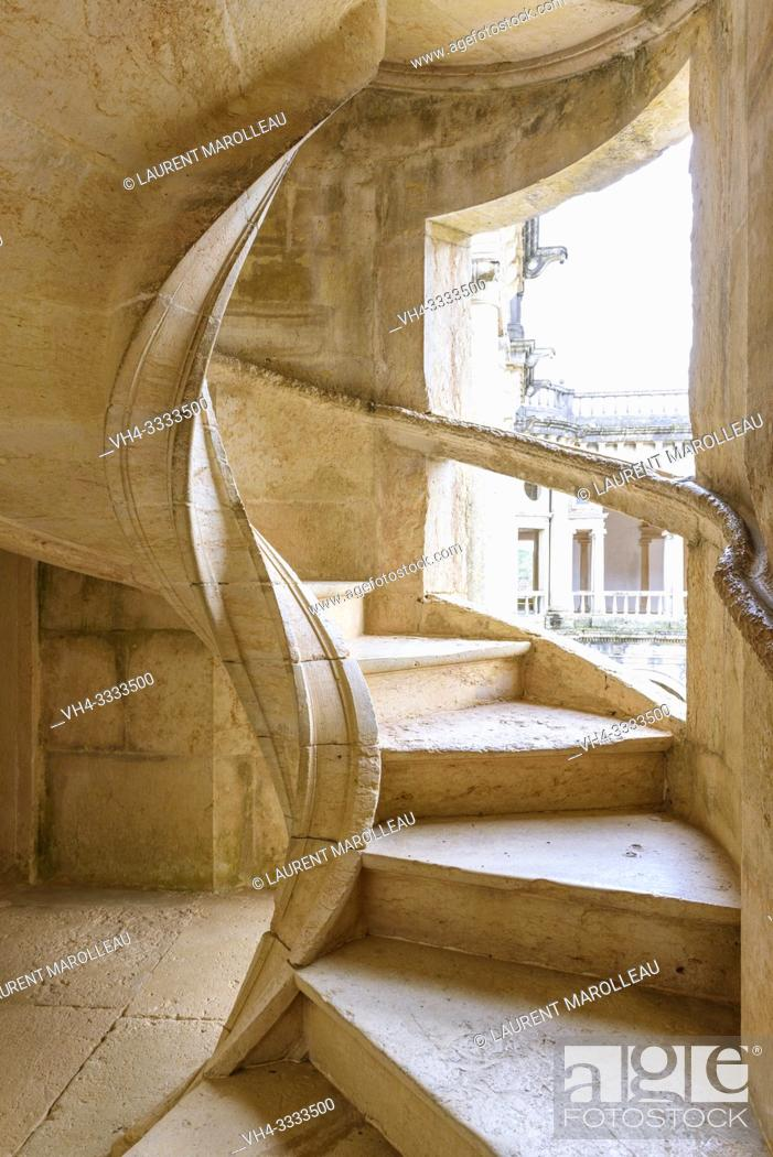Stock Photo: Helicoidal stairway of the cloister of John III, Convent of Christ, Tomar, Santarem District, Centro Region, Portugal, Europe.