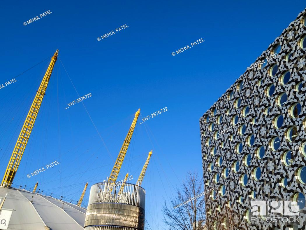 Stock Photo: Detail on the uniquely designed building of Ravensbourne College of Design and Communication next to the O2 arena in London.