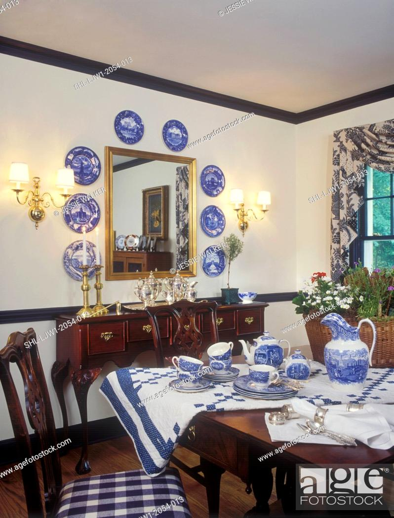 Stock Photo Dining Rooms Very Elegant And Formal Area With Blue Accents