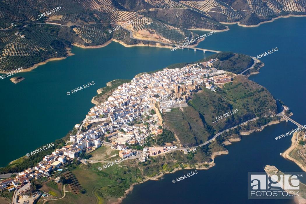 Stock Photo: aerial view Iznajar, Seville Andalusia, Spain Europe.
