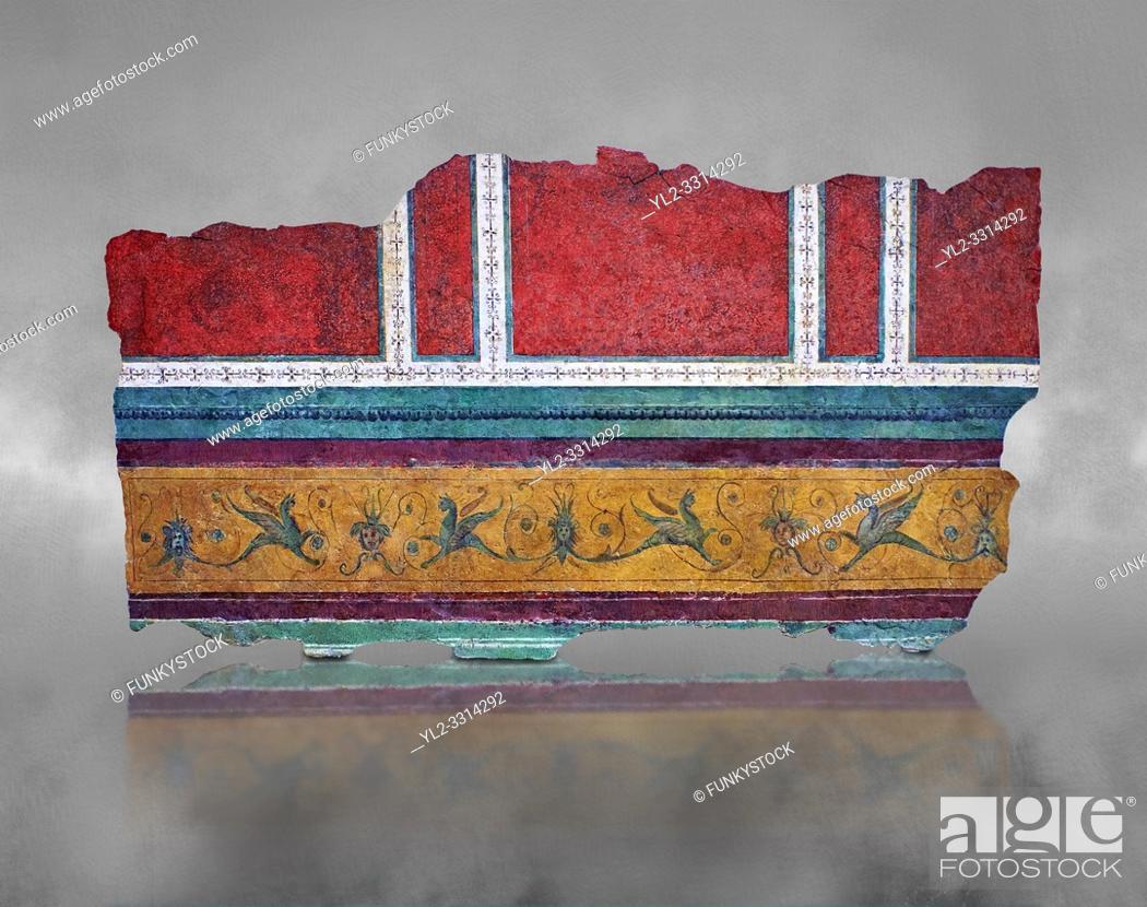 Stock Photo: Roman fresco wall decorations of Corridor F-G of the Villa Farnesia, Rome. Museo Nazionale Romano ( National Roman Museum), Rome, Italy. .