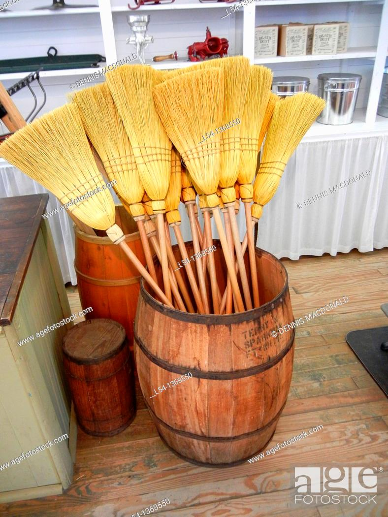 Stock Photo: Hand made broom for sale.