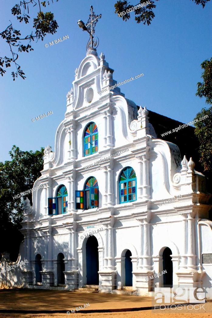 Stock Photo: OLD CHRISTIAN CHURCH NEAR KUMBALANGHI, KOCHI.