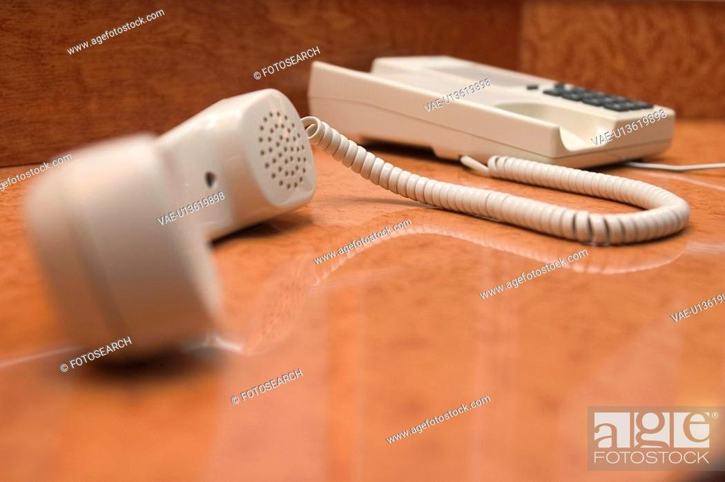 Stock Photo: telephone receiver, handset, focus, blur, arrangement.