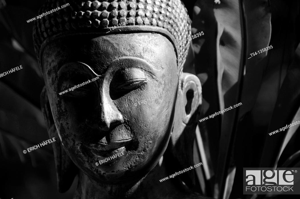 Stock Photo: Face of a Buddha.