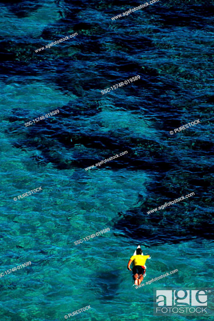 Stock Photo: High angle view of a person surfing in the sea.