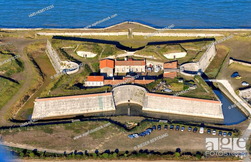 Stock Photo: France, Charente Maritime, Ile de Re, Fort de la Pree rebuilt by Vauban in the South of La Flotte en Re aerial view.
