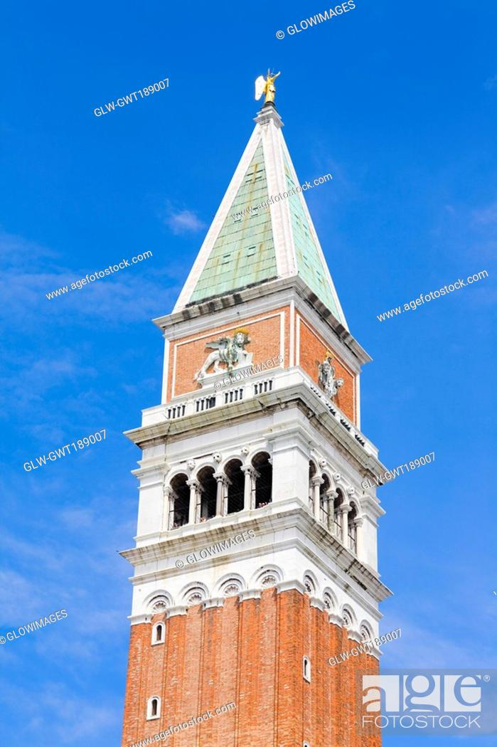 Stock Photo: Low angle view of a bell tower, St  Mark's Square, Venice, Italy.