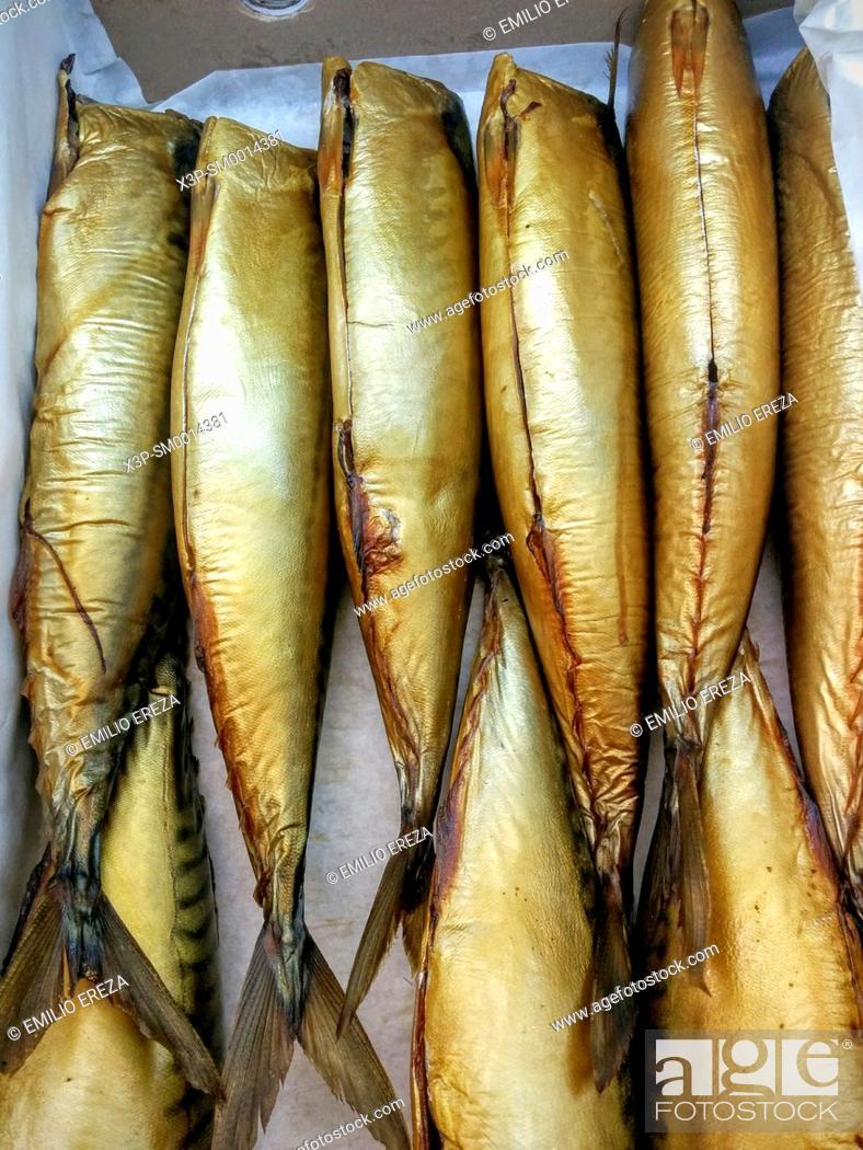 Stock Photo: Smoked mackerels.