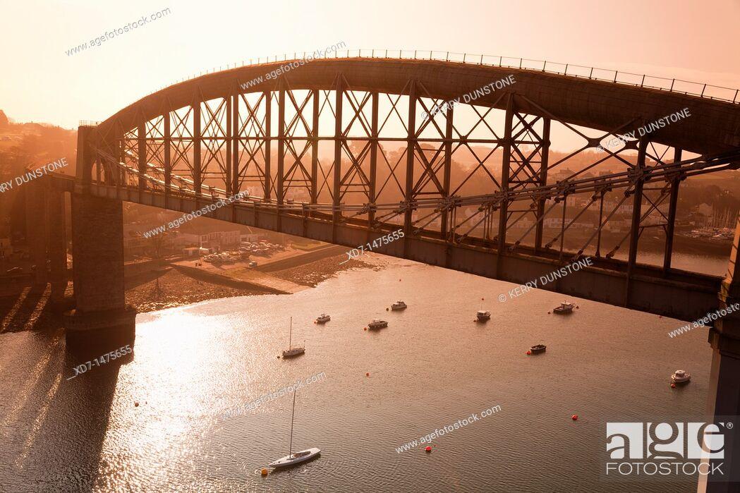Stock Photo: England Devon Plymouth Royal Albert Bridge across the River Tamar.