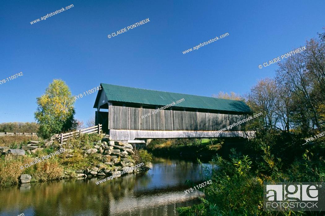 Stock Photo: Drouin covered-bridge, Compton, Quebec, Canada.