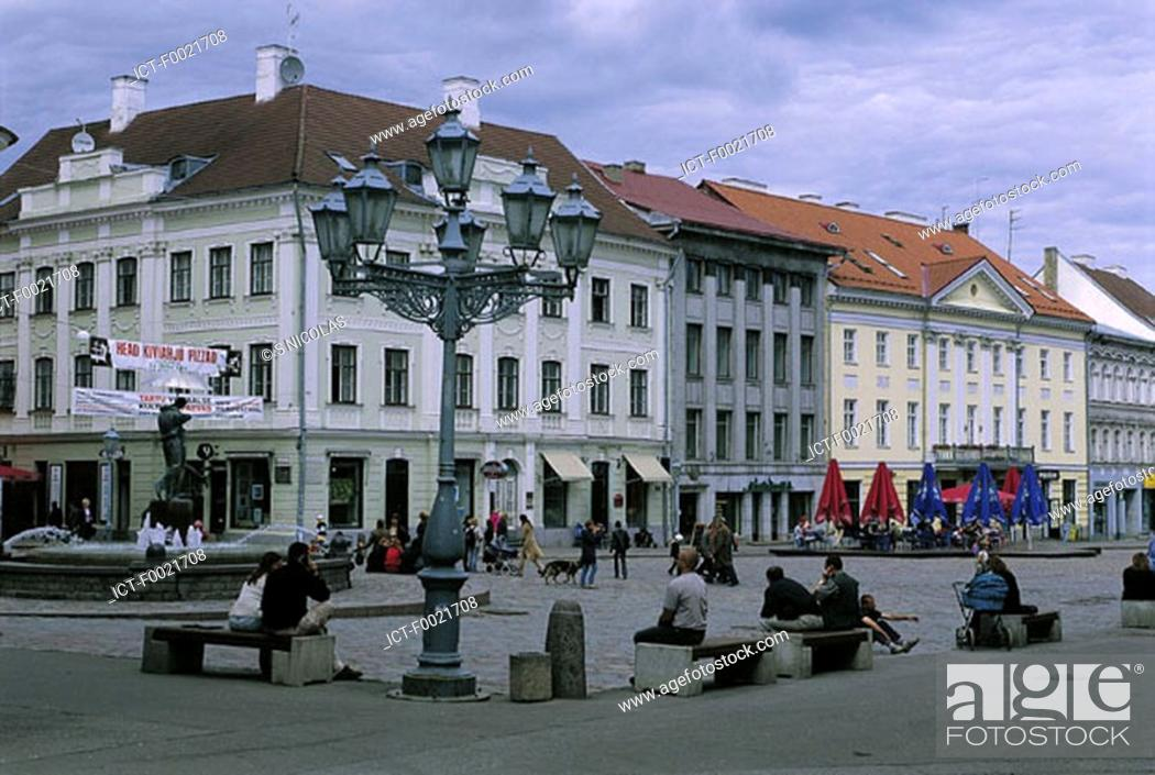 Stock Photo: Estonia, Tartu, City Hall square.