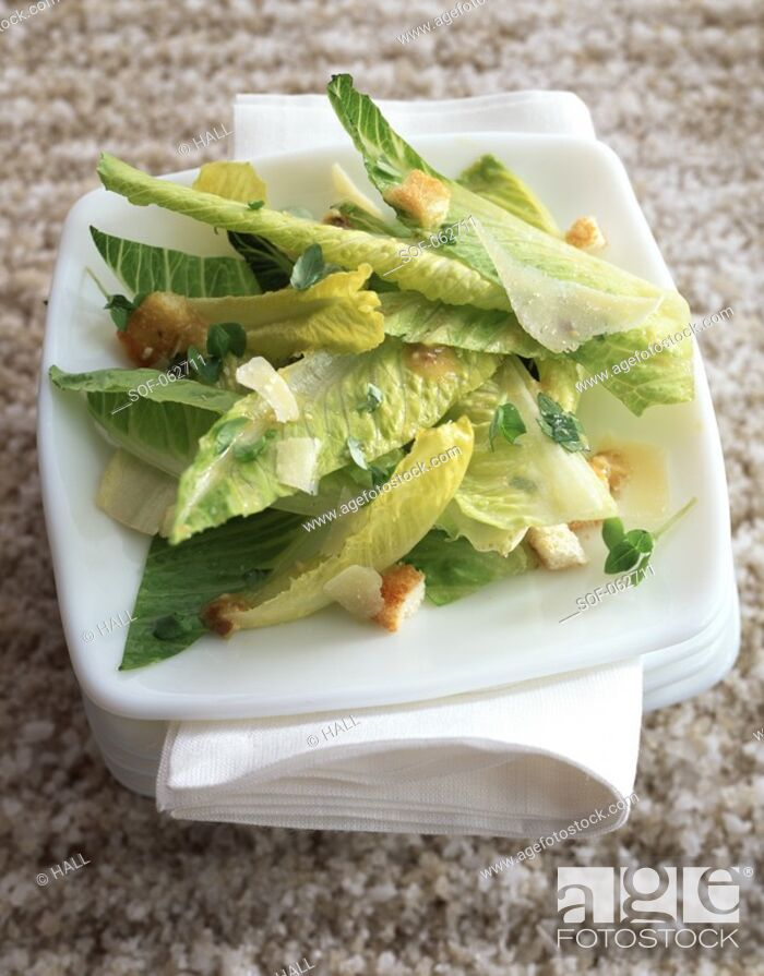 Stock Photo: Green lettuce, parmesan and croutons.